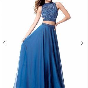 Sherri Hill royal Two-Piece prom Dress royal blue